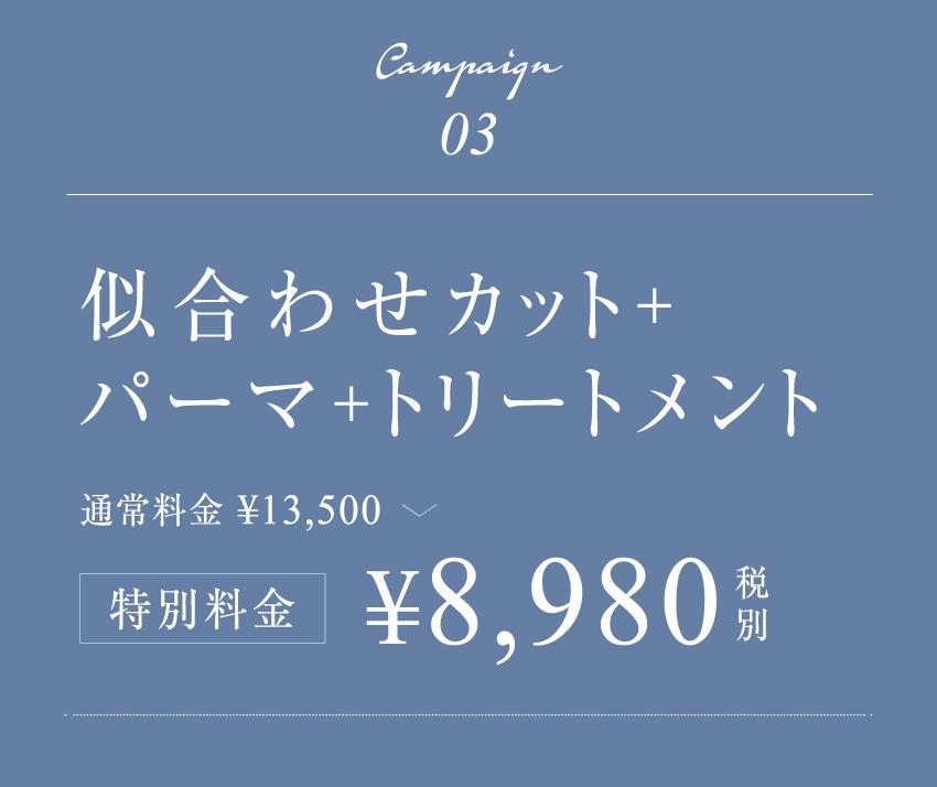 似合わせカット+パーマ+トリートメント